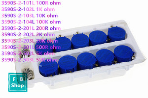 10 PCS 3590S-2 resistência série 200R 100R 1 K 10 K 100 K 2 K 20 K R 5 K 50 K ohm Potenciômetro Resistor Ajustável