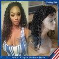 Малайзийский глубокий вьющиеся парики 100% человеческих волос вьющиеся кружева передние парики для афро-американцев 7а gueless полные парики шнурка с волосами младенца