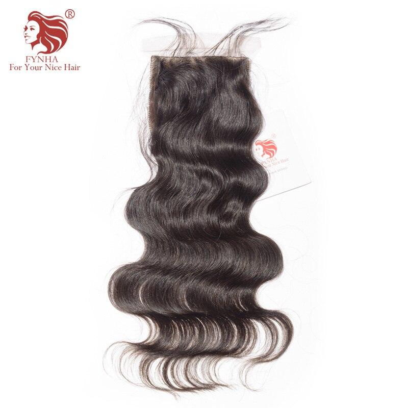 FYNHA Brazilian Body Wave Silk Base Lace Closure Virgin Hair Natural Color 100 Human Hair