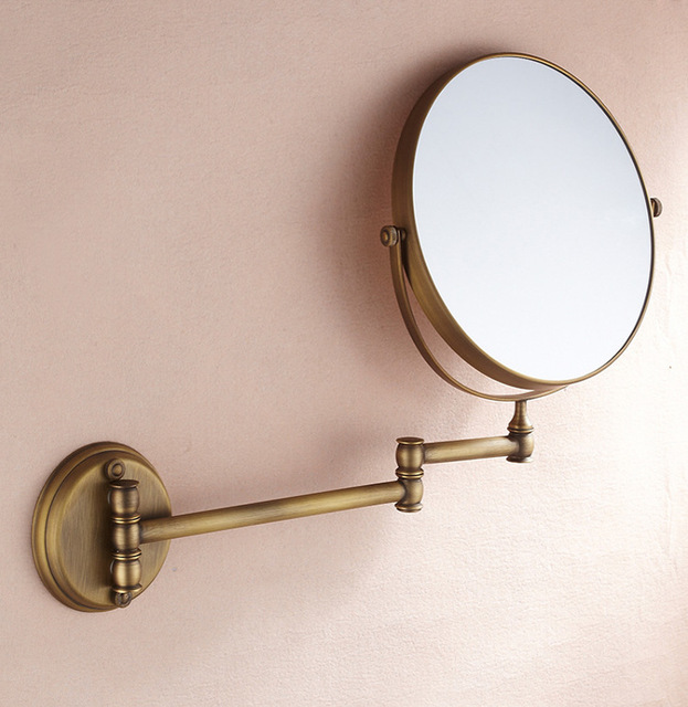 Wholesale 8 Inch Double Side Rotating Copper Hotel Bathroom Mirror 3X  Magnifying Antique Brass Gold Black