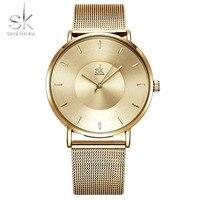 Brand Gold Women Watches Shengke Steel Mesh Strap Rose Gold Bracelet Quartz Watch Ladies Relogio Feminino