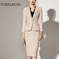 Professional suit tweed jacket + skirt Sequins flash fabric spring / autumn women's jacket Business ladies 2 piece skirt suit