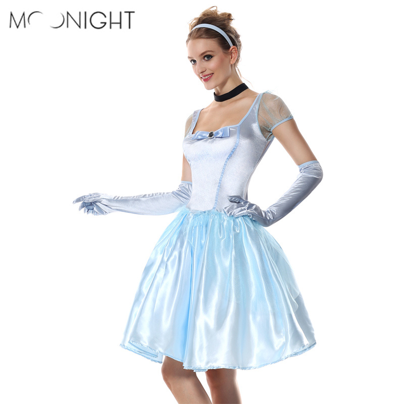 MOONIGHT Adult Women Alice in Wonderland Cinderella Dress Halloween Cosplay Costume Party Dress Princess Cinderella Costumes