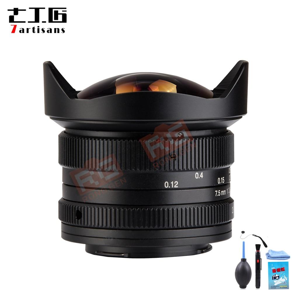 7 artesãos 7.5mm f2.8 fisheye lente 180 APS-C lente fixa manual para sony e montagem para canon EOS-M montagem f2.8 fx montagem olympus m4/3