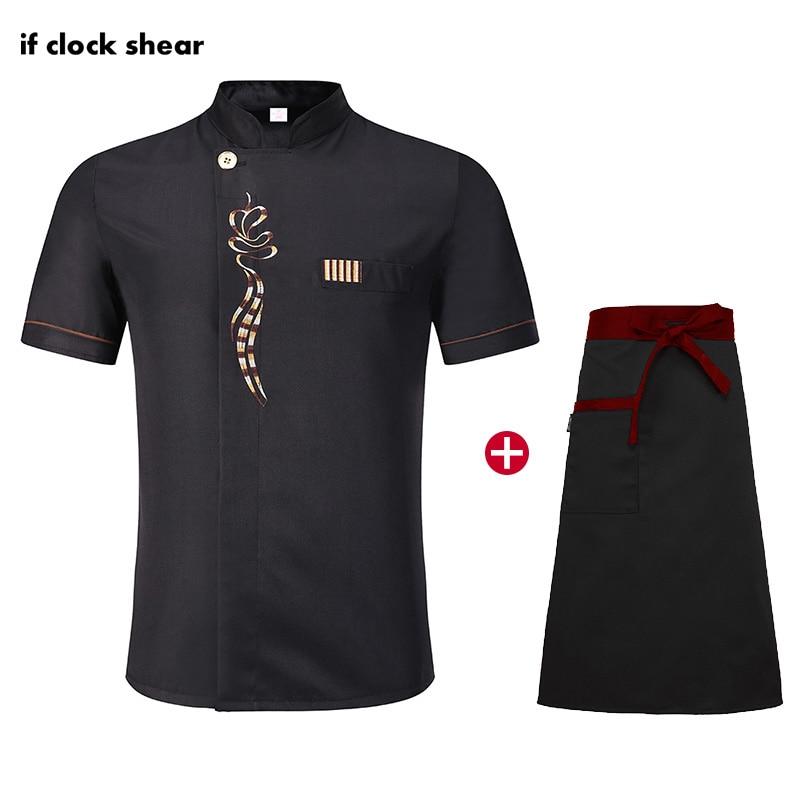 High Quality Short Sleeve Chef Uniforms Restaurant Hotel Kitchen Chef Clothes Unisex Breathable Black Jacket+Apron Cooking Set