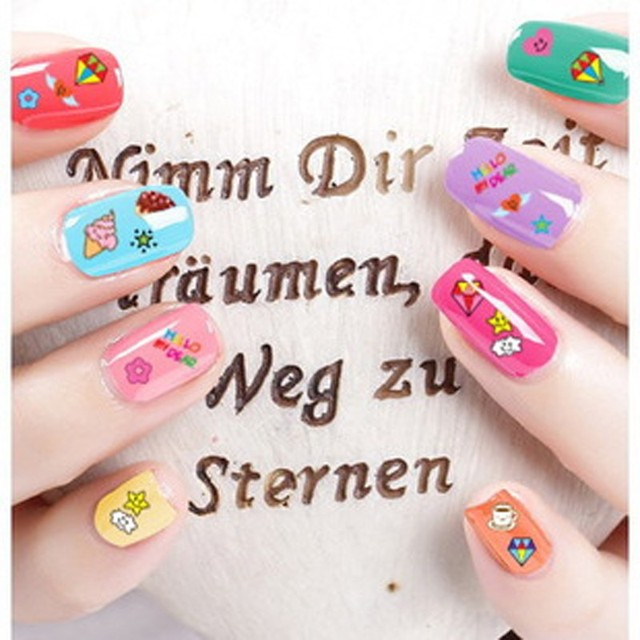 1pcs Diy Nail Design Water Transfer Nails Art Sticker Cute Cartoon Picture Watermark Fingernails