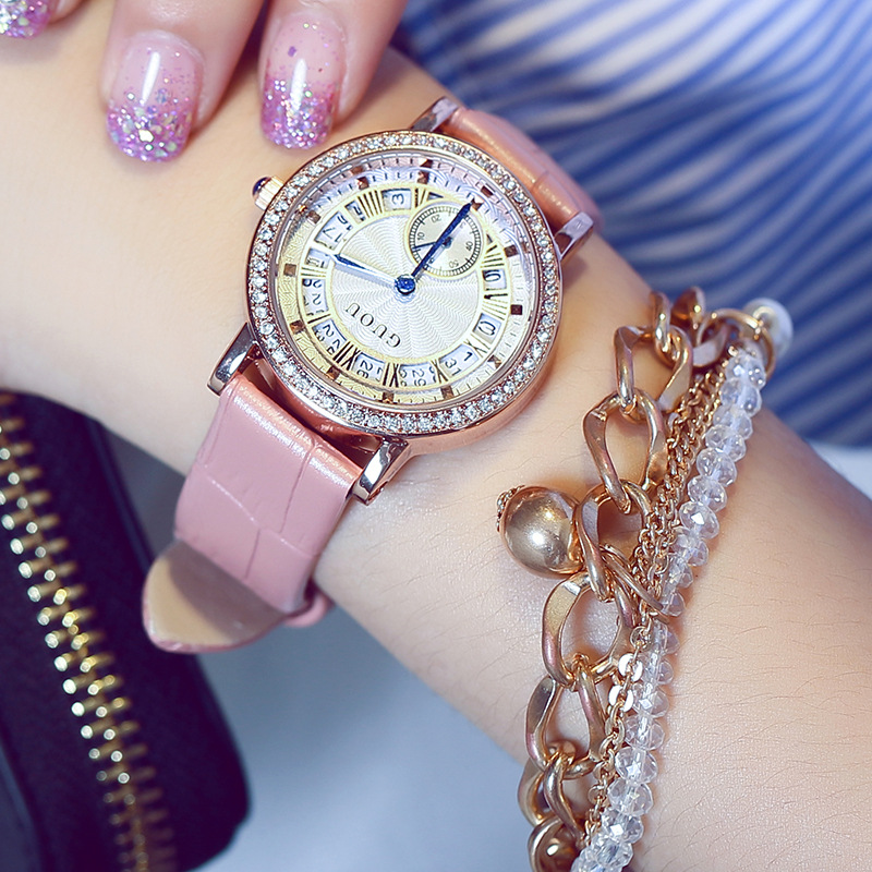 2018 Luxury GUOU Magic Dial Bling Crystal Japan Movt Quartz Wrist Watch Gift Women Girls Female Wristwatches 8118