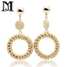 JiaMu Fashion Popular stud long young rattan round wood tassel earrings for women  hand making party wedding jewellery delicate