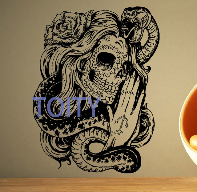 sugar skull decal day of the dead tattoo girl vinyl sticker wall room decor art mural h74cm x. Black Bedroom Furniture Sets. Home Design Ideas
