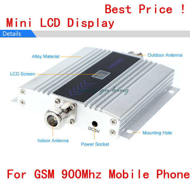Caliente Pantalla LCD 2G 900 MHz 900 mhz GSM Teléfono Celular Móvil Amplificador de señal de teléfono Repetidor ganancia 60dbi pantalla LCD para casa oficina