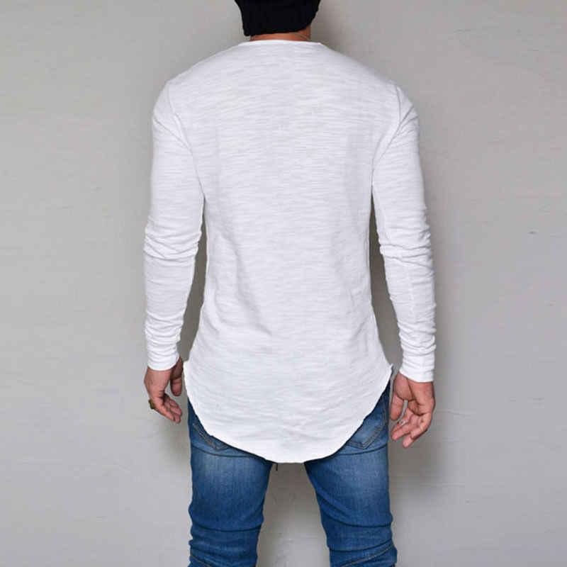 최신 도착 패션 핫 패션 남자 슬림 크루 넥 긴 소매 근육 티 t-셔츠 캐주얼 탑스