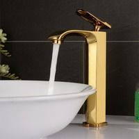 Free shipping Luxury Gold Creative Design Bathroom Basin Sink Faucet Deck Mounted Hot and Cold Water Mixer Taps