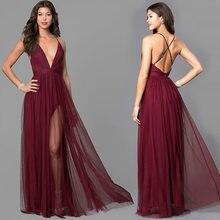 430abeb2a Vino rojo Sexy espaguetis Correa Larga Noche Vestidos 2019 barato a-Línea  de Split sin mangas vestido de fiesta sin espalda vest.
