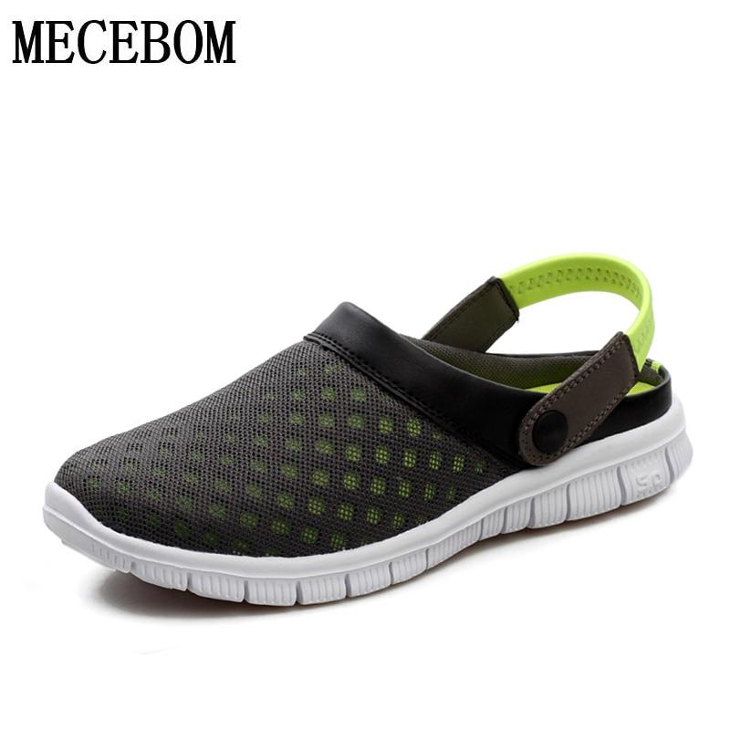 Big Size 36-46 Men's Summer Shoes Sandals Breathable Flip Flops Mens Slippers Mesh Light Shoes Slip On footwear L927M