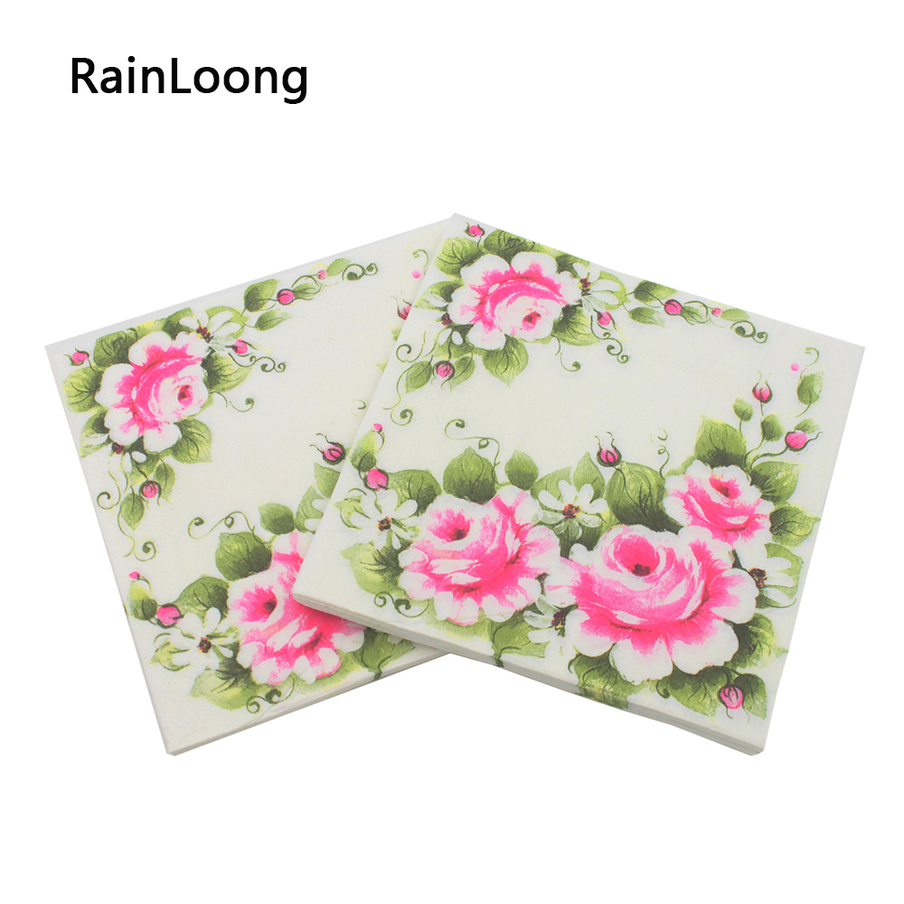 Aliexpress buy rainloong printed feature pink rose flower aliexpress buy rainloong printed feature pink rose flower paper napkin event party supplies decoration tissue decoupage 20pcspacklot from mightylinksfo