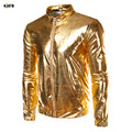 New Party Halloween Cool Men`s Gold Silver Jacket Coated Metallic Night Club Hip Hop Zip Up Stand Collar Shiny Coat For Hipster