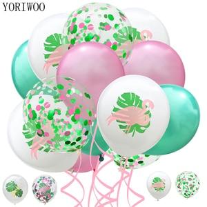 YORIWOO Flamingo Balloon Confetti Baloons Birthday Party Decorations Kids Babyshower Hawaii Hawaiian Party Decorations Wedding(China)