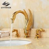 Недавно Роскошные золотые пластины 3 шт. Ванная комната раковина кран бассейна смеситель Лебедь Стиль судно кран 2 ручки Золото Полированна