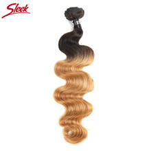 Sleek Ombre Brazilian Hair Body Wave Human Hair Weave Bundles Deal 1B/27 Piece Weft Two Tone Remy Hair Extension 10 to 30 Inches(China)