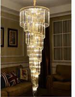 D550mm H1800mm Golden Color E14 LED Modern Hotel Crystal Chandelier Pendant Lamp LED Bulb Hotel Chandelier AC 100% Guaranteed