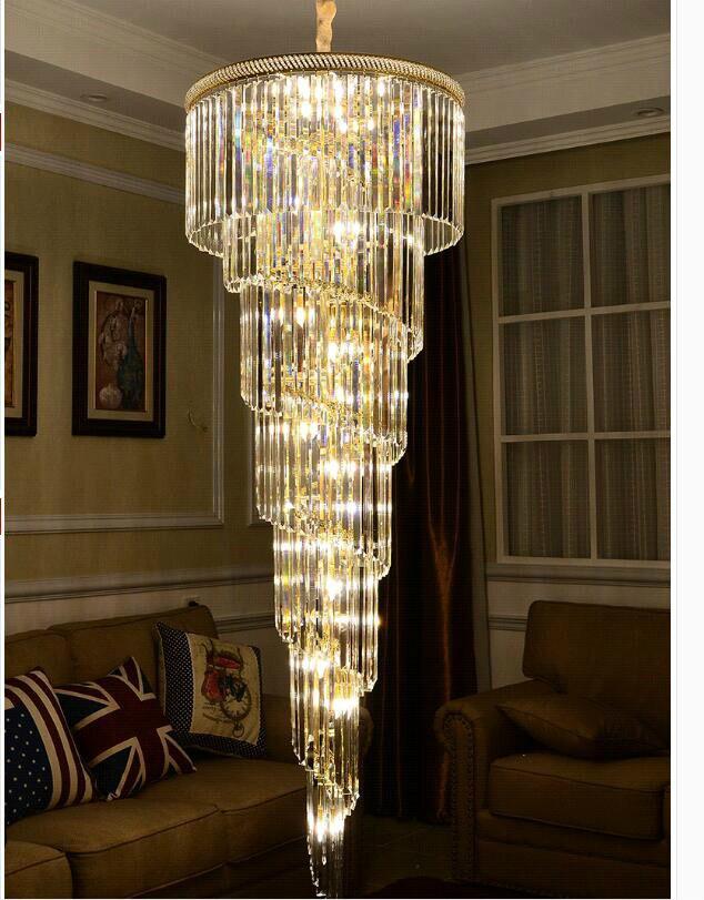 D550mm H1800mm couleur dorée E14 LED moderne hôtel lustre en cristal suspension lampe LED ampoule hôtel lustre AC 100% garanti
