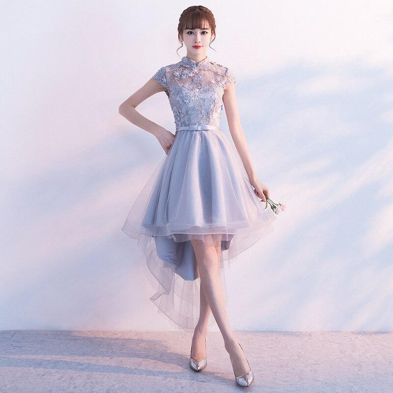 Gray Wedding Bridesmaid Dress Vintage Female Mandarin Collar Cheongsam Embroidery Floral Elegant Slim Qipao Sexy Vestidos