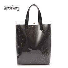 RanHuang New 2018 Women Transparent Composite Bag Beach Bag Ladies Fashion Handbags Casual Shoulder Bags Travel Bags A1309