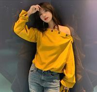 Elegant Women Blouses Tops 2019 Spring New Korea Fashion Slash neck Off Shoulder Top Yellow Long Sleeve Shirt