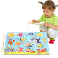 14Pcs Wooden Magnetic Fishing Toy 3d Puzzles Fish Game  Fishing Toy Baby Educational Toys For Children Birthday Christmas Gift