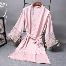 Атласный халат для невесты, Элегантная пижама для невесты, сексуальный кружевной женский халат, халат, кимоно, Шелковый банный халат, для сна, для отдыха