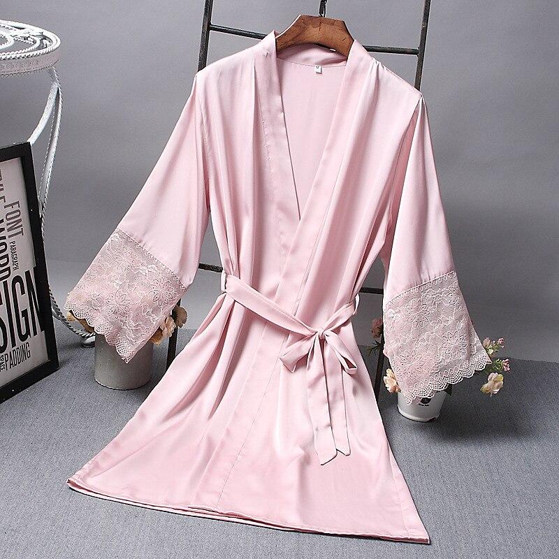 Robes de demoiselle d'honneur Robe en Satin mariée élégante vêtements de nuit Sexy dentelle femmes Robe de chambre peignoir Kimono soie Robe de bain sommeil salon