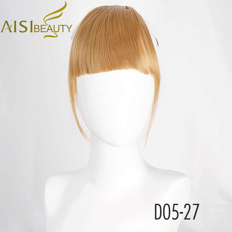 AISI BEAUTY Natural Faux Bangs Flase Clip para el cabello en flejes extensiones de cabello sintético flecos para mujeres Blunt Blonde