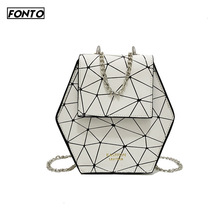 Hot Women's Chain Bag Lady Creative Wild Polygon Shoulder Bag Personalized Hexagon Diamond Shopping Messenger Bag