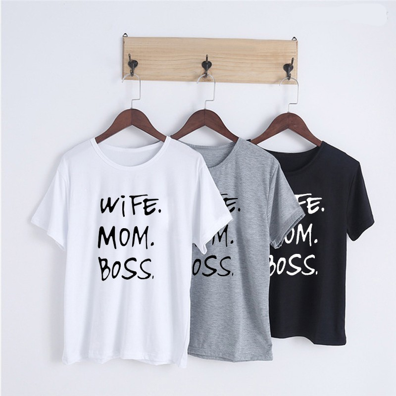 <font><b>Wife</b></font> <font><b>mom</b></font> <font><b>boss</b></font> print t shirt women casual cool summer t-shirt women short sleeve Tshirt-J740 image