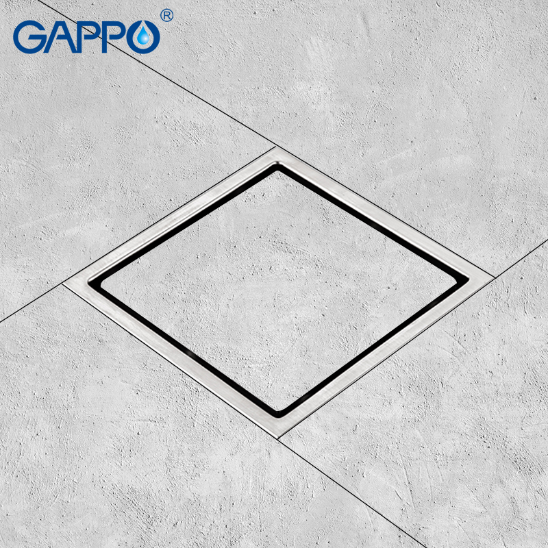 GAPPO Drains Stainless Steel Square Anti-odor Bathroom Waste Drains Shower Drain Strainer Floor Cover Water Strainer