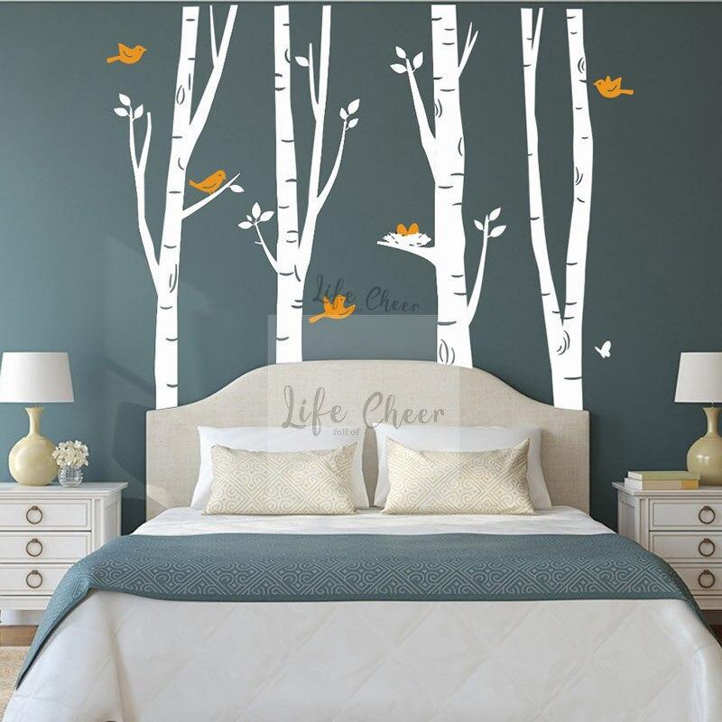 Grands bouleau arbres avec Deers mur autocollant pépinière enfants chambre décor sauvage Amimal oiseaux volants avec arbre vinyle stickers muraux AC226