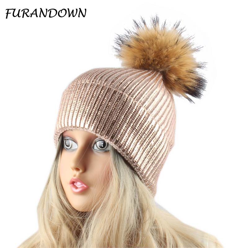 women winter hats and caps pink paint   Skullies     Beanies   for ladies real fur pom pom hat female warm cap