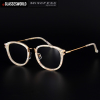 d2cd4e9c3a 2017 New Style Eyewear White Acetate And Gold Alloy Handmade Optical Frames  Of Unisex