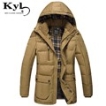 Zipper Coat Male With Pockets 2016 Brand Thick warm Cotton Overcoats Long Winter Jacket Men Solid Men's Parka Hood NJ6811