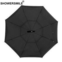 SHOWERSMILE Inverted Umbrella Automatic Men High Quality Black Folding Car Reverse Double Layer Male