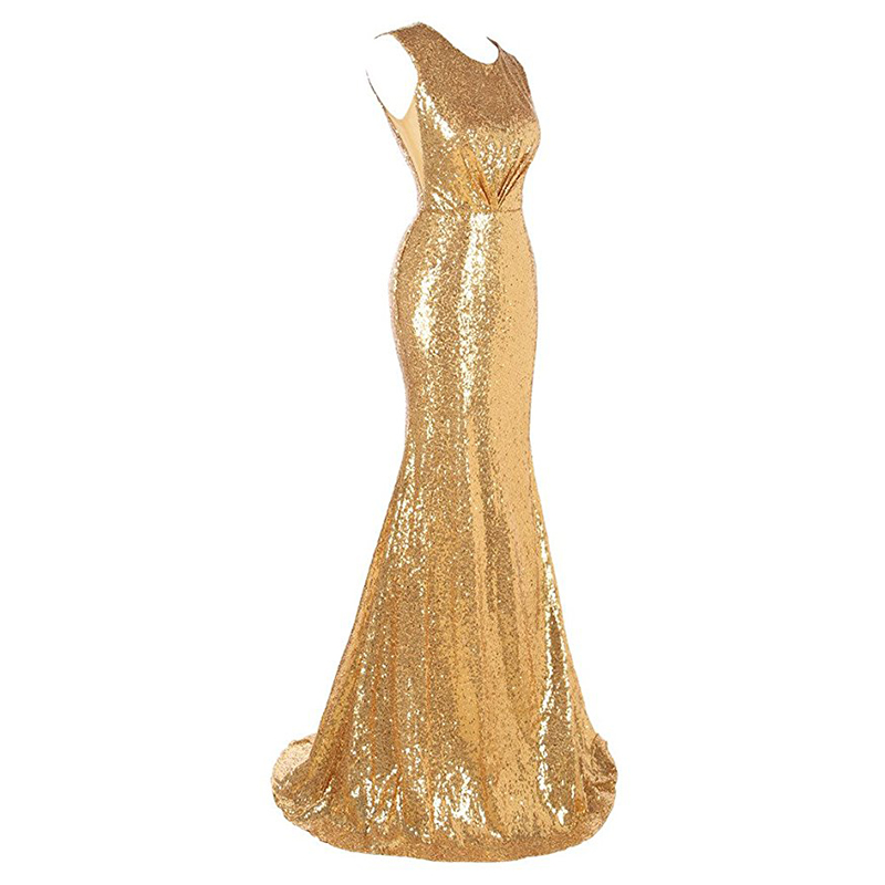 2019 Mermaid Evening Dresses Scoop Neck Sleeveless Gold Sequins Women Formal Party Dresses Hollow Back Trumpet Evening Gowns