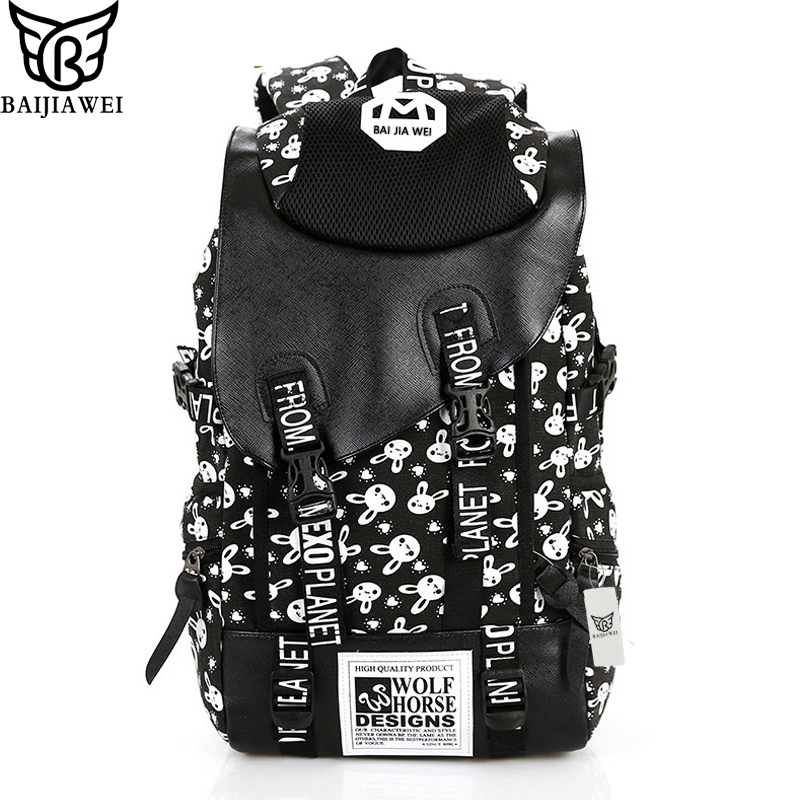 BAIJIAWEI Hot Sale Vintage Retro Women Canvas Backpack Travel Rucksack Hobo School Bag Satchel bag Rabbit Print Women's Backpack 2016 hot sale fashion canvas cute mustache school book bag vintage women backpack casual women backpack