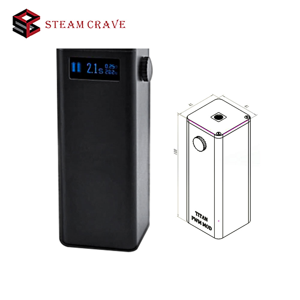 Original Steam Crave Titan PWM VV Box MOD Powered By Four 18650 Cells Max 300W Huge Power Best for Tanks of Huge Diameter Vape