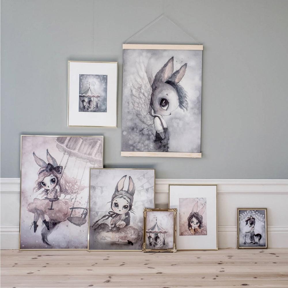 Moderne konijn meisjes engel cartoon canvas schilderij nevel kleur - Huisdecoratie