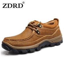 ZDRD 100% Genuine Leather Flats Shoes Men Oxfords Comfortable Men Shoes Soft leather Lace up Casual Shoes