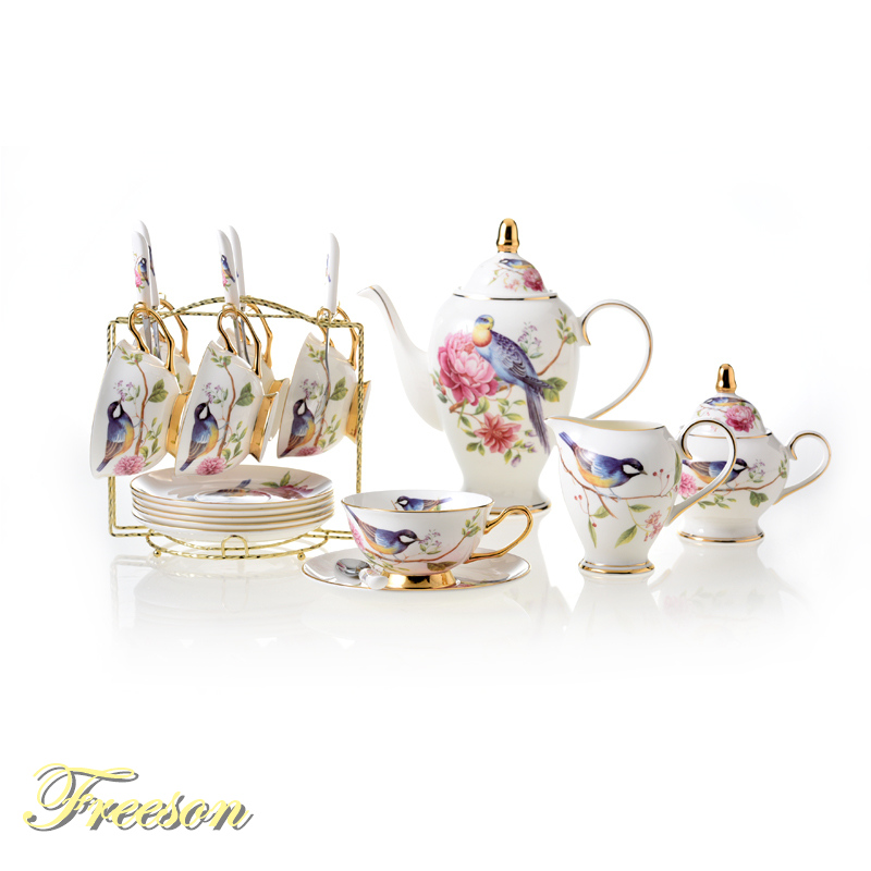 Pastoral Bird Bone China Coffee Set Europe Porcelain Tea Set Ceramic Mug Pot Sugar Bowl Creamer Teapot Teatime Party Coffee Cup
