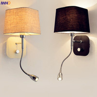 IWHD Fabric Nordic LED Wall Lamp Lights For Home Lighting Switch LED Stair Light Fixtures Appliques Murales Lampe