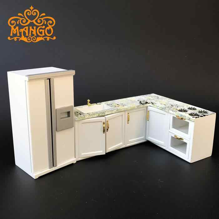 1:12 Dollhouse Miniature kitchen furniture Fashion gift White whole kitchen stove refrigerator