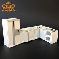 1:12 Dollhouse Miniature kitchen furniture Fashion gift White whole kitchen stove refrigerator