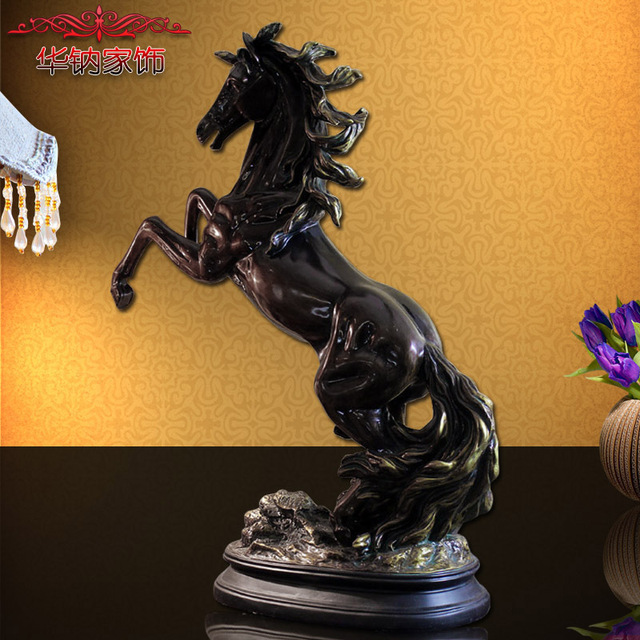2016 Promotion Antique Ornaments Crafts Resin Zodiac Horse Entrance Desk Home Furnishing Opened Zhaocai Furnishings Decorations